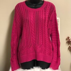 Splendid Pink Knitted Scoop Neck Pullover Sweater
